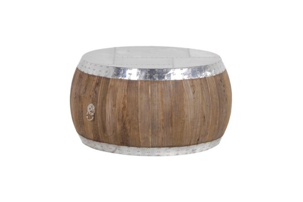 Round Aluminium/Elm Coffee Table
