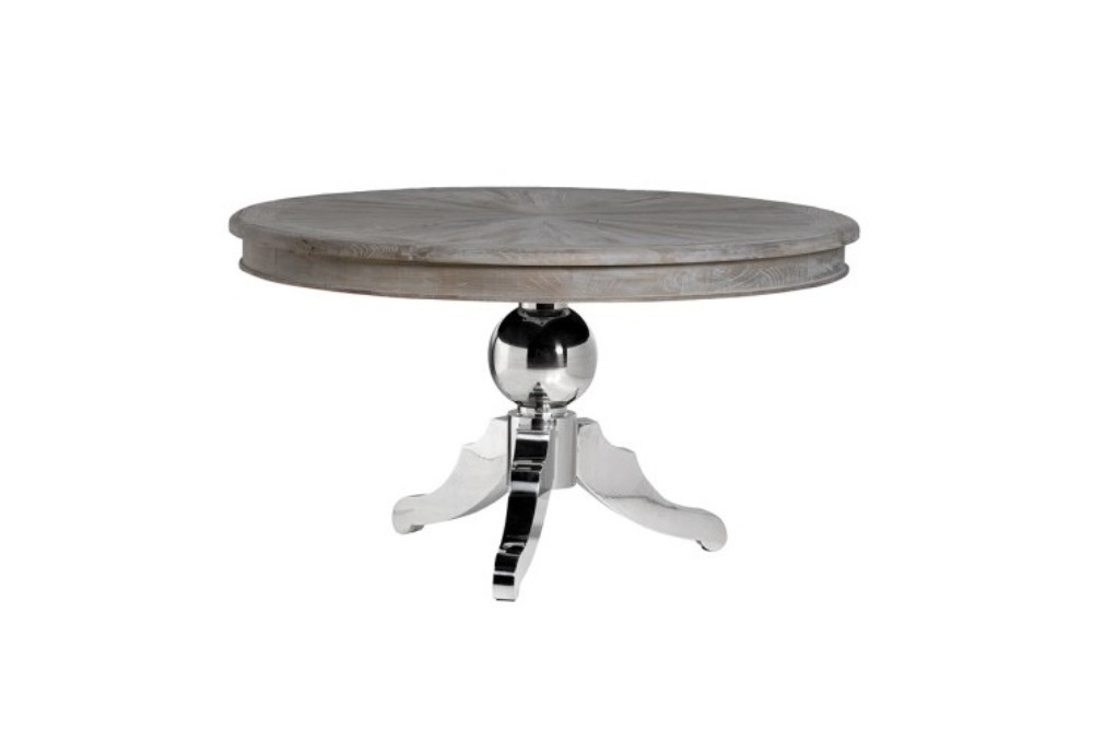 Round Dining Table with Stainless Steel Base