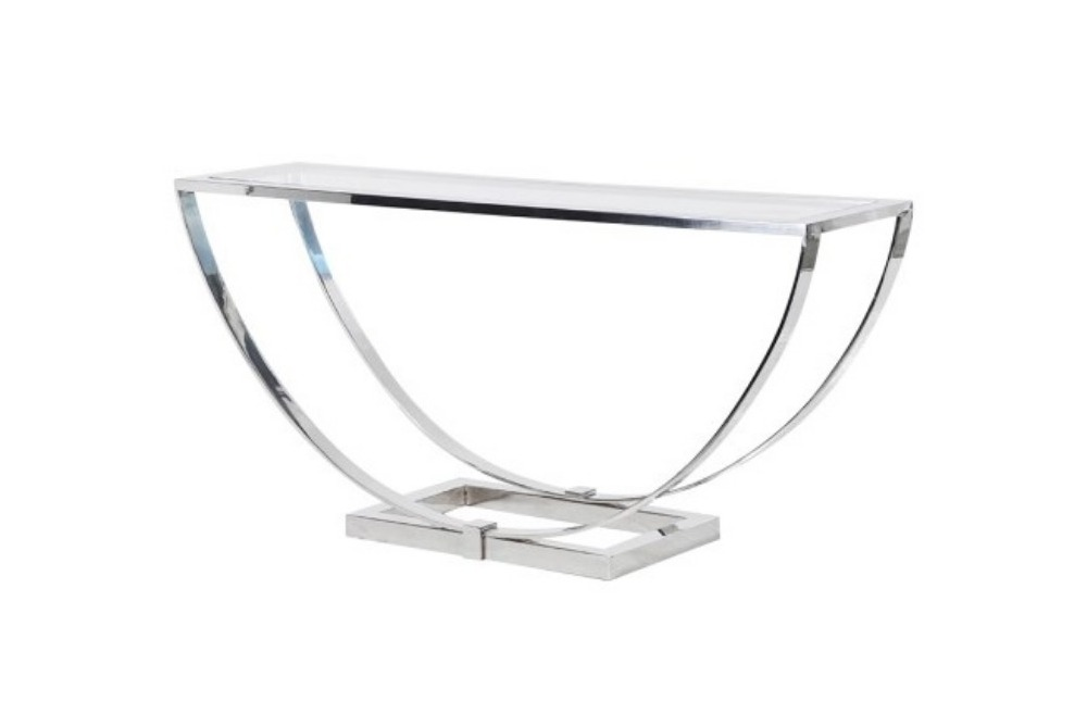 Glass and Steel Curved Console Table