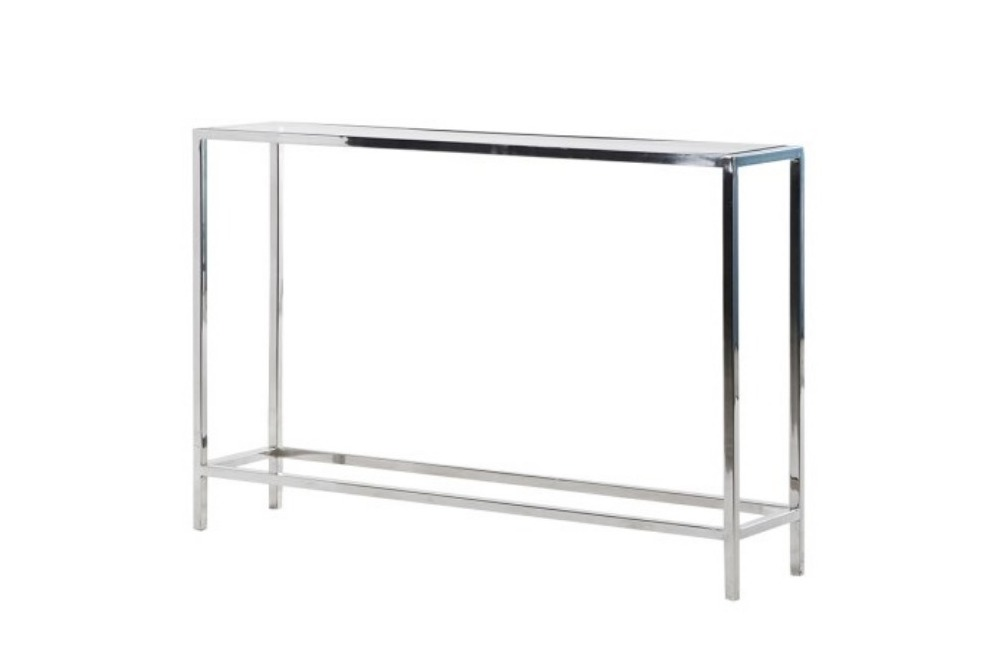 Glass and Steel Console Table