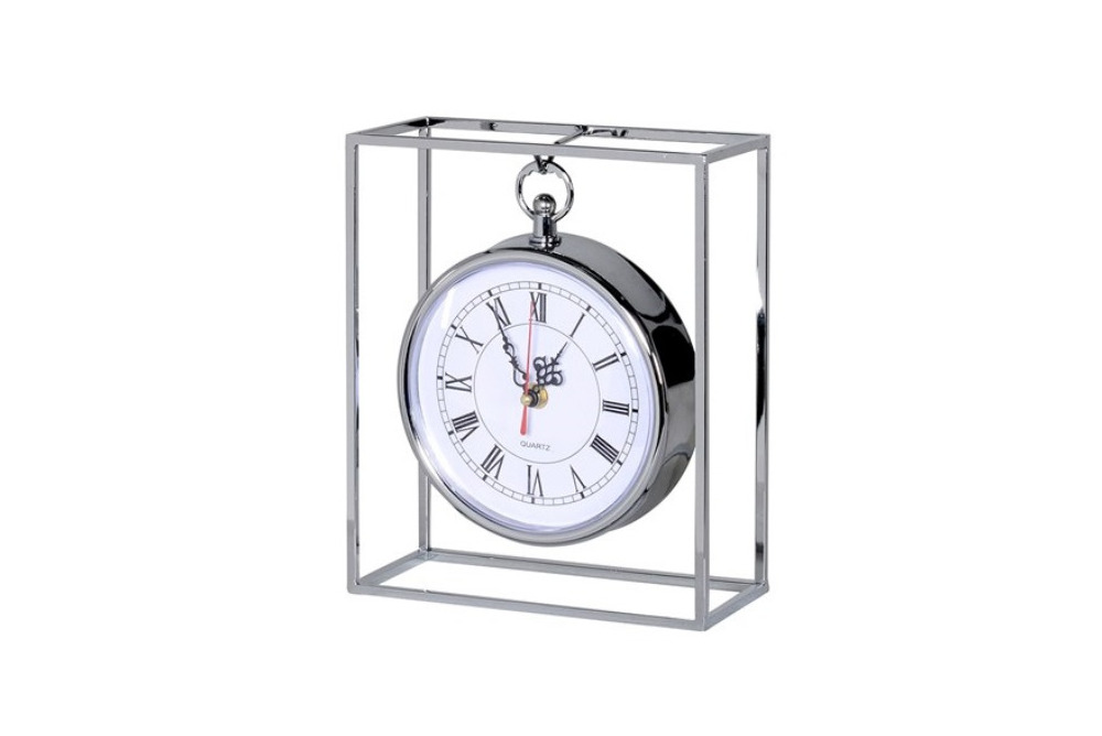 Small Metal Clock in Frame