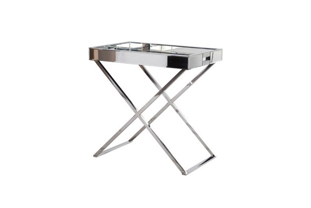 Mirrored Bedside Tray Side Table