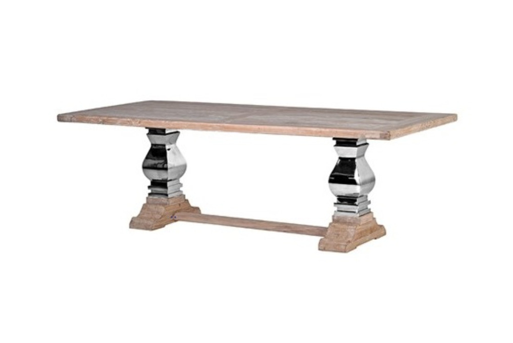 Steel and Wood Refectory Table