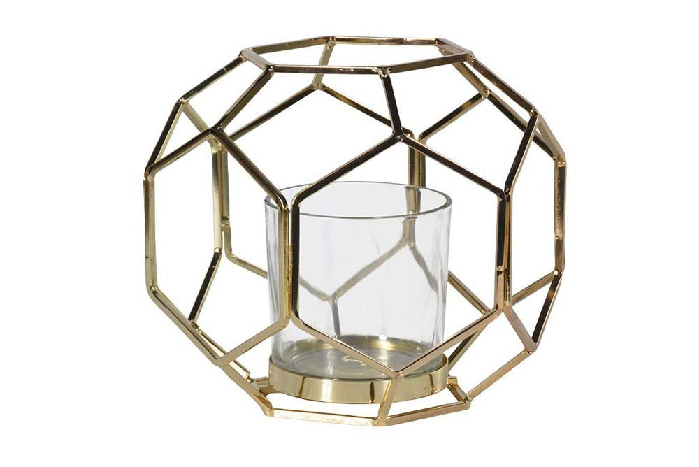 Hexagonal Metal & Glass Lantern