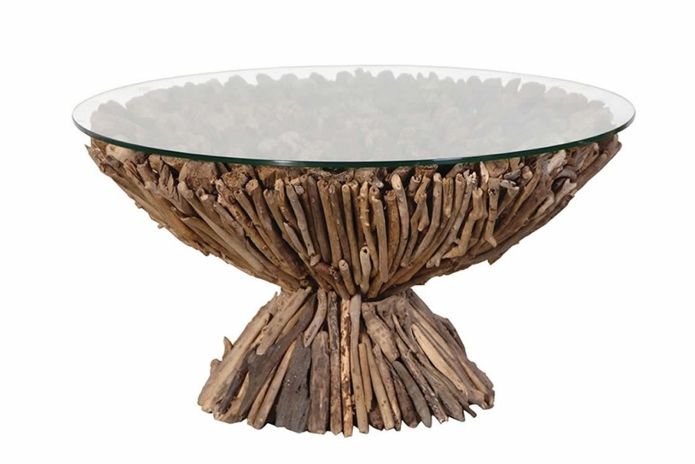 Driftwood Coffee Table / Glass Top