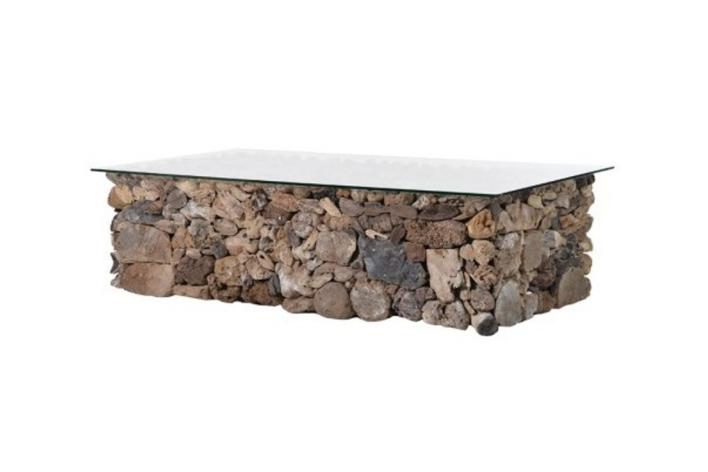 Rectangle Driftwood Coffee Table with Glass Top