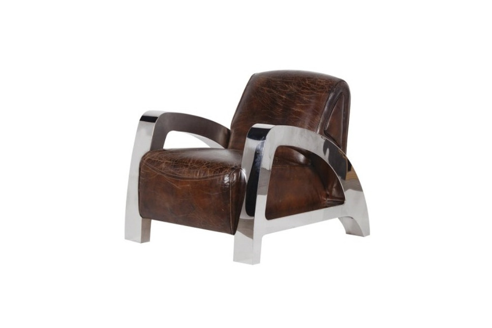 Italian Leather and Steel A-Frame Armchair