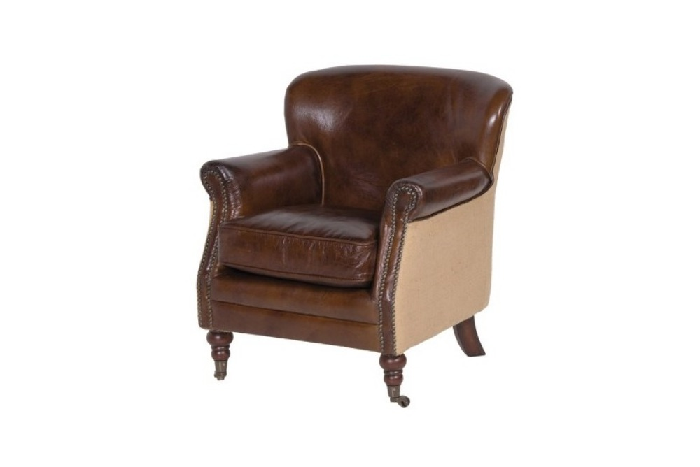 Brown Leather and Linen Armchair