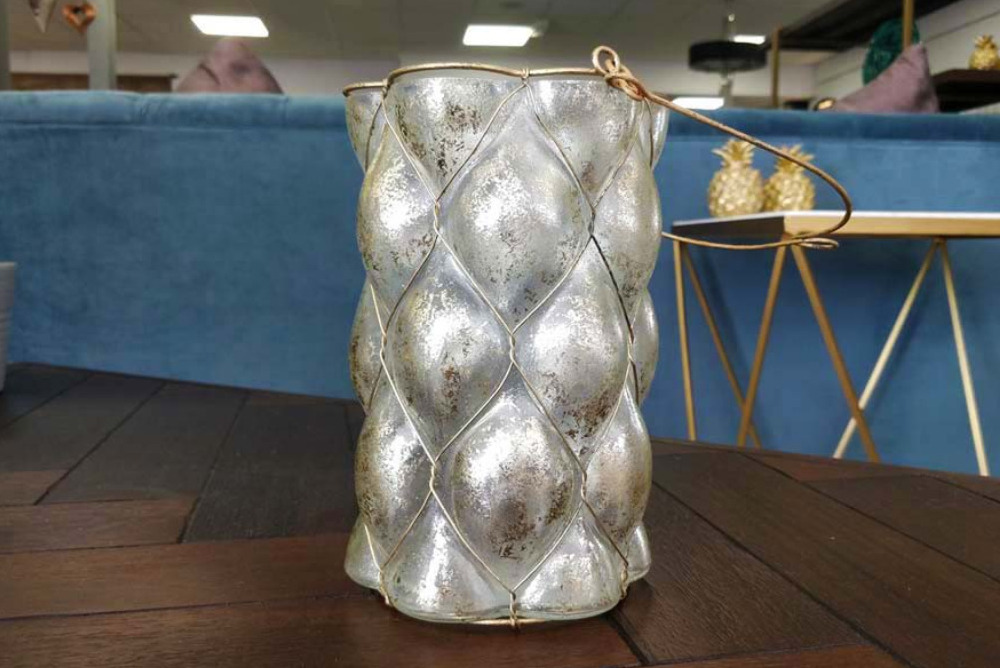 Antique Glass & Metal Candle Holder