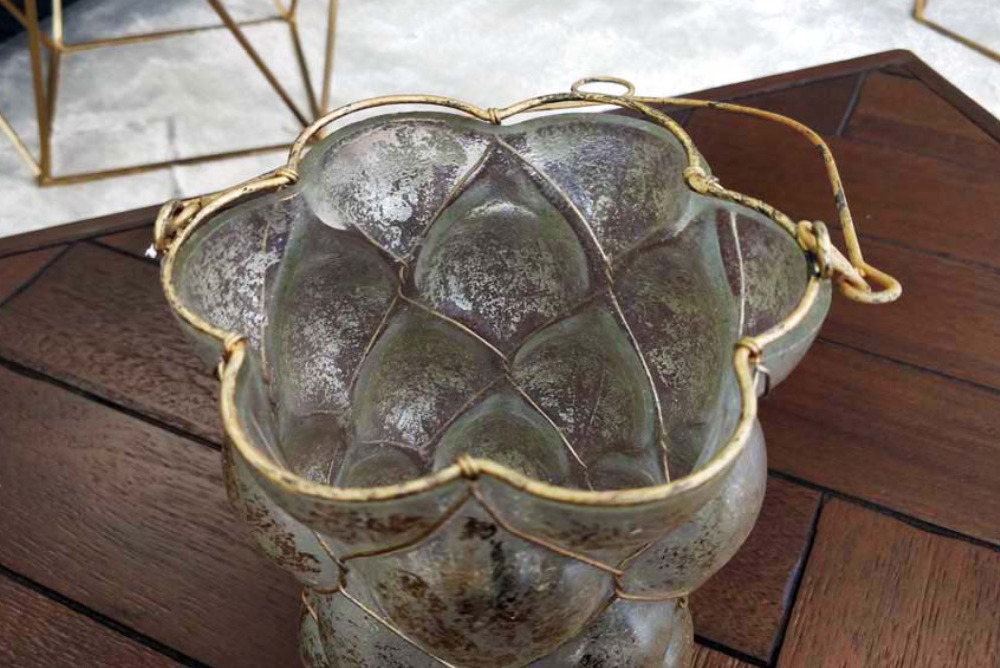 Inspired Floors accessories - Antique Glass & Metal Candle Holder