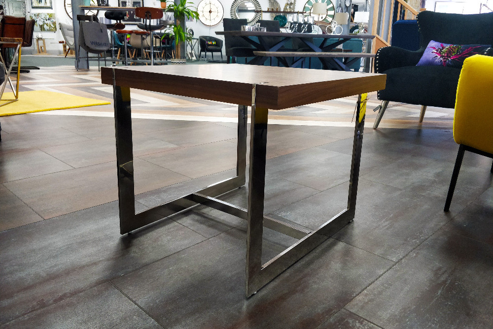 Modern Chrome & Wood Table