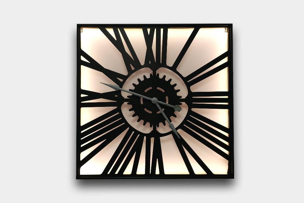 Large Square Metal Skeleton Hanging Clock