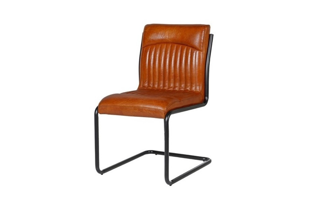 Vintage Brown Leather and Metal Frame Chair