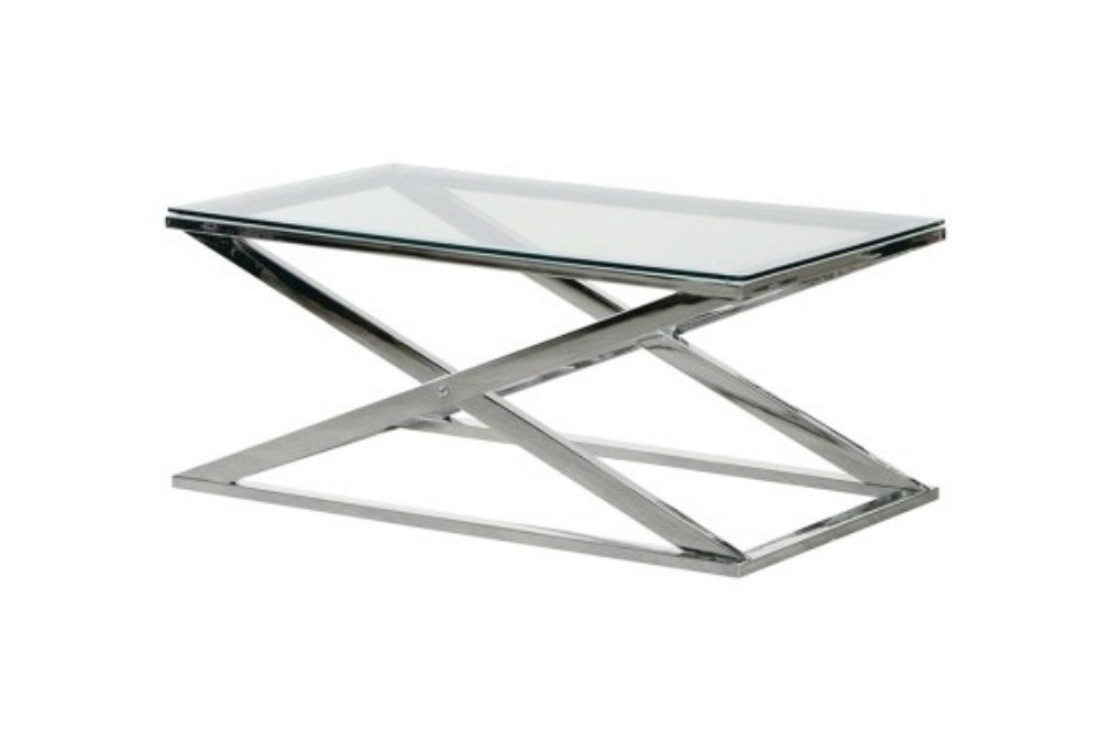 Stainless Steel X-Frame Coffee Table