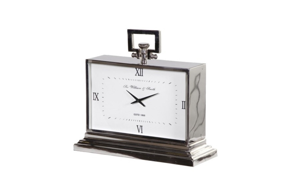 Nickel Finish Rectangular Mantel Clock
