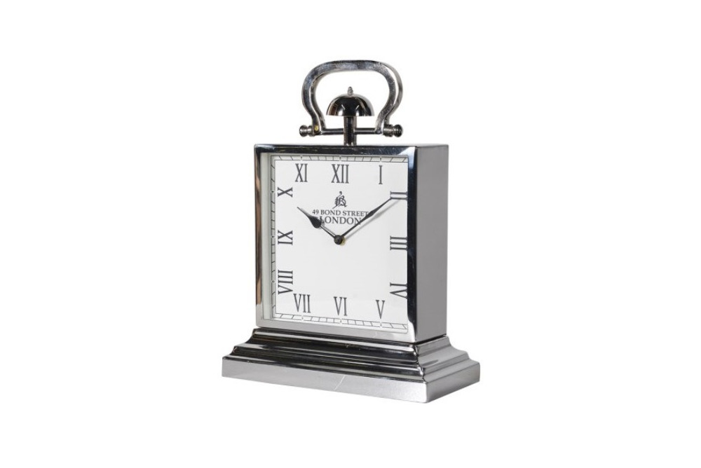 Benbury Square Steel Mantel Clock