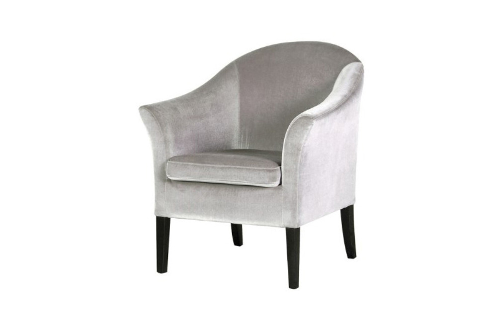 Deauville Silver Velvet Chair with Black Legs