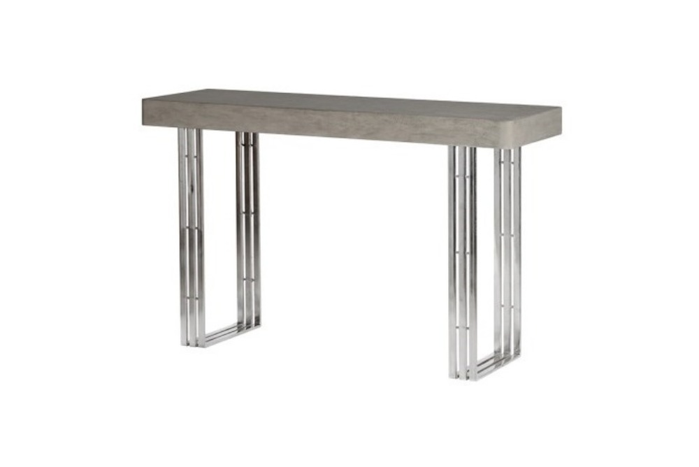 Concrete Top Console Table with Strip Legs