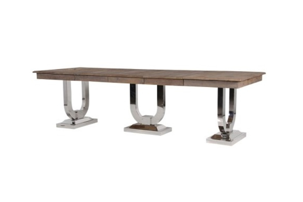 Recycled Pine and Steel Extending Dining Tabl