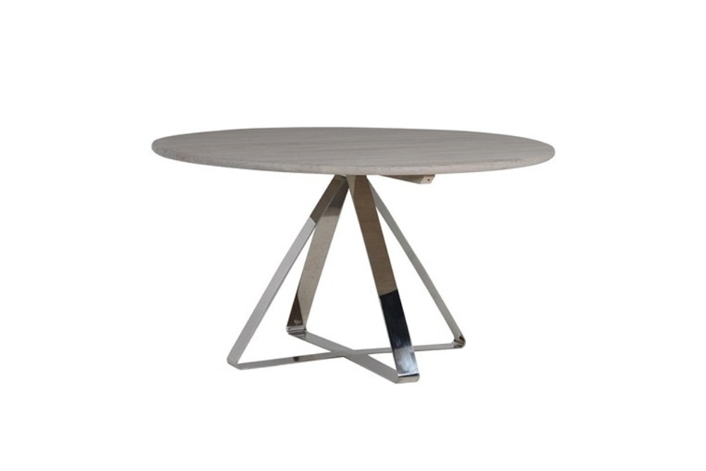 Weathered Elm and Stainless Steel Dining Table