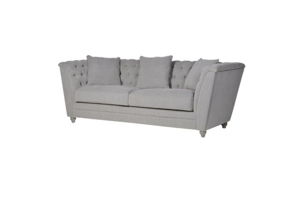 Grey Buttoned 3 Seater Box Sofa