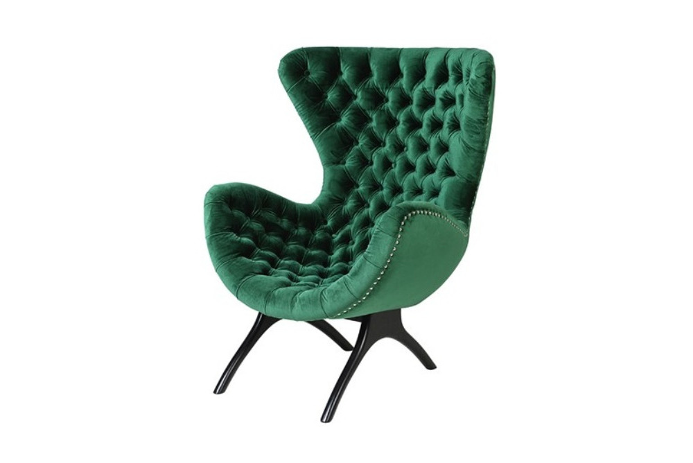 Emerald Green Curved Buttoned Chair