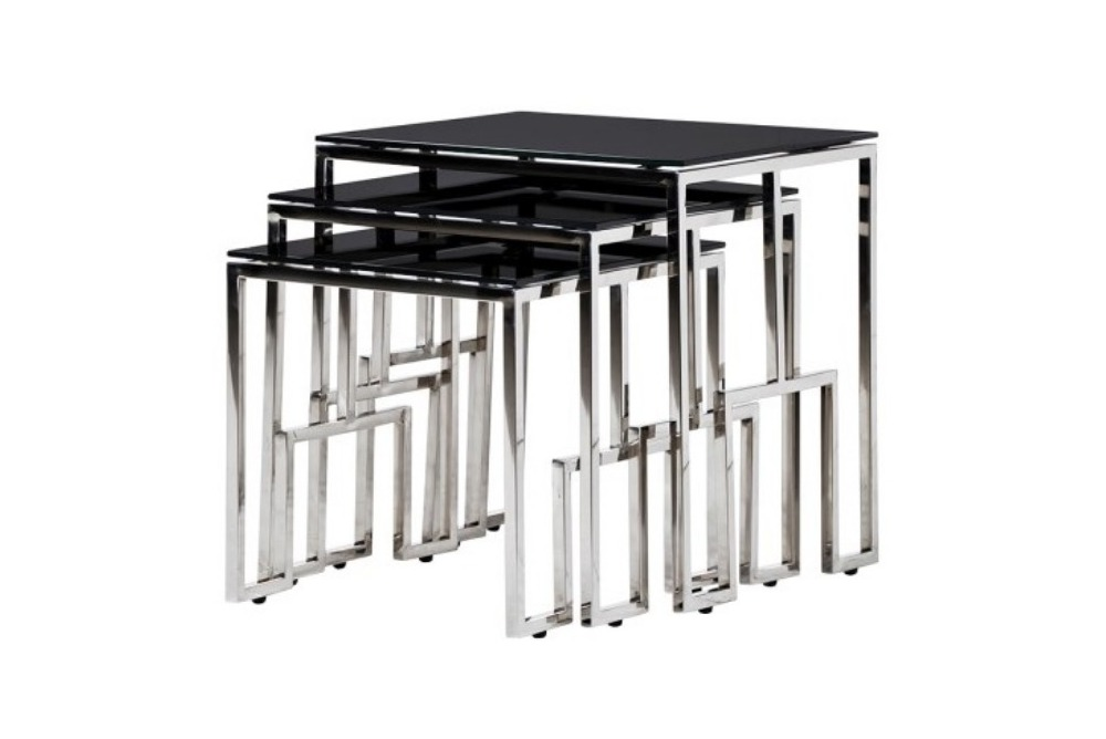Set of 3 Black/Silver Nest of Tables