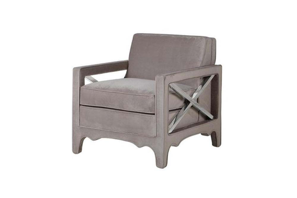 Grey Taupe X Arm Chair