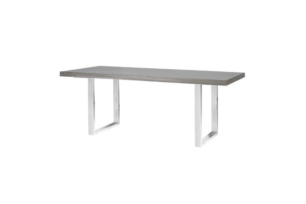 Glossy Grey Dining Table with Steel Legs