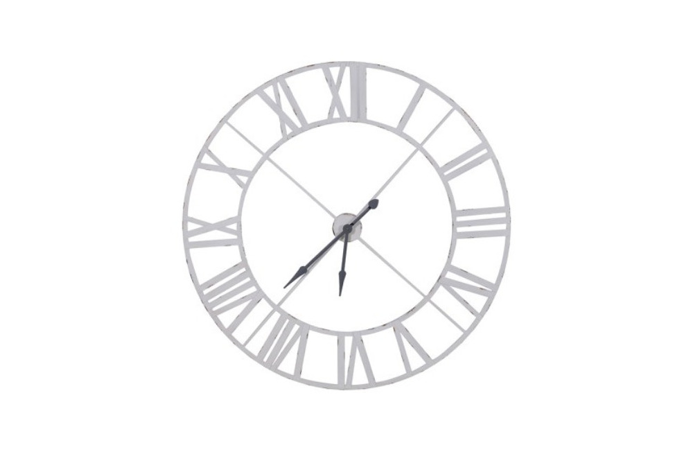White Metal Outline Clock