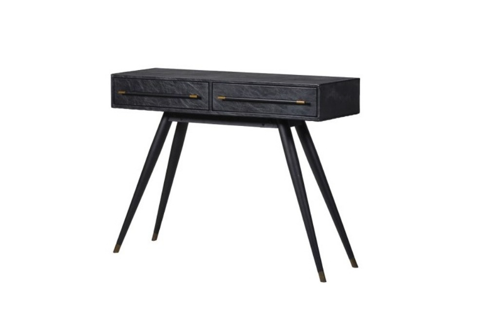 Black Leather Hall Table