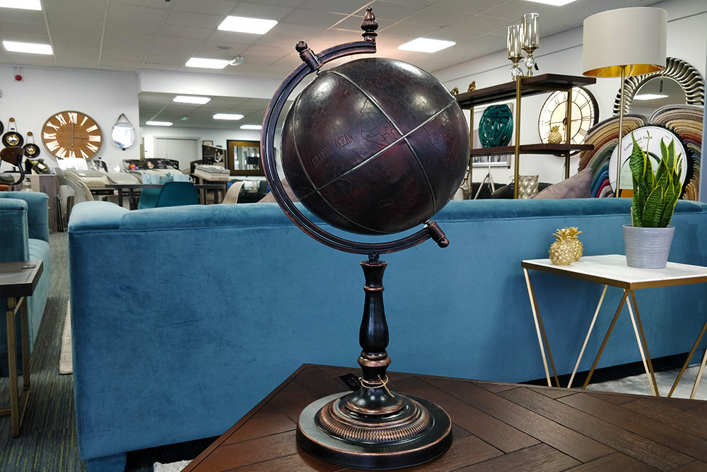 Wood & Leather Globe