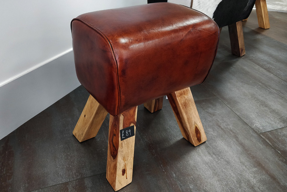 Small Leather Footstool