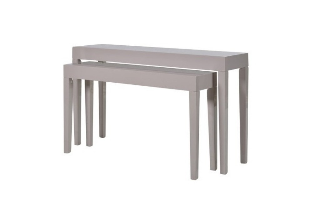 Set 2 Taupe High Gloss Console Tables