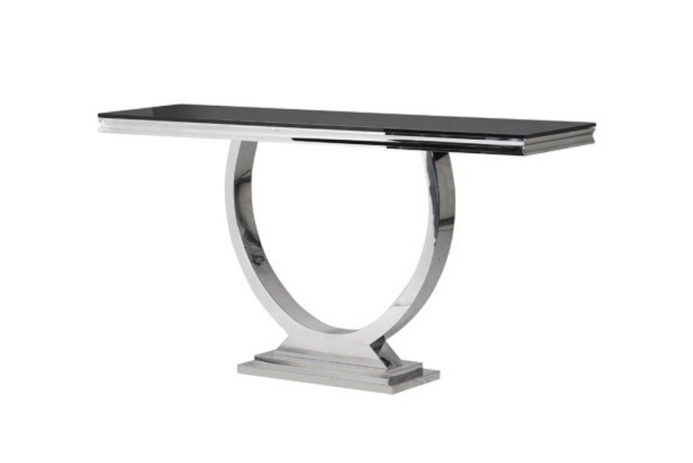 Black Glass Top Modern Console Table
