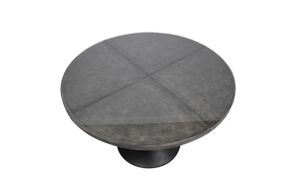 Inspired Floors furniture - Leather Effect Glass Top Table