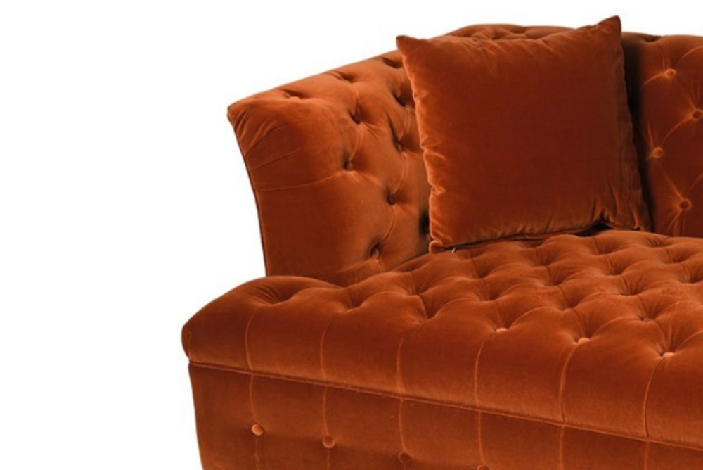 Inspired Floors furniture - Lismore Orange Buttoned Sofa 3 seater