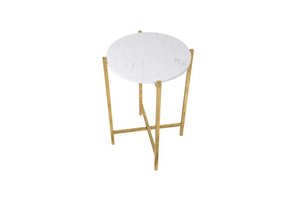 Inspired Floors furniture - Marble Top Gold Side Table