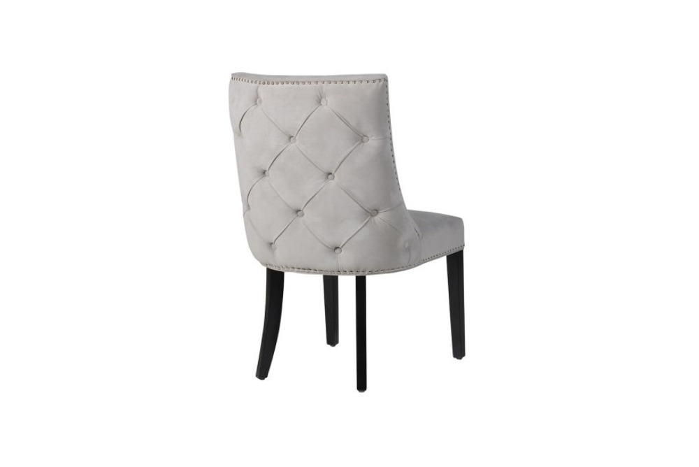 Inspired Floors furniture - Grey Chrome Studded Button Back Chair