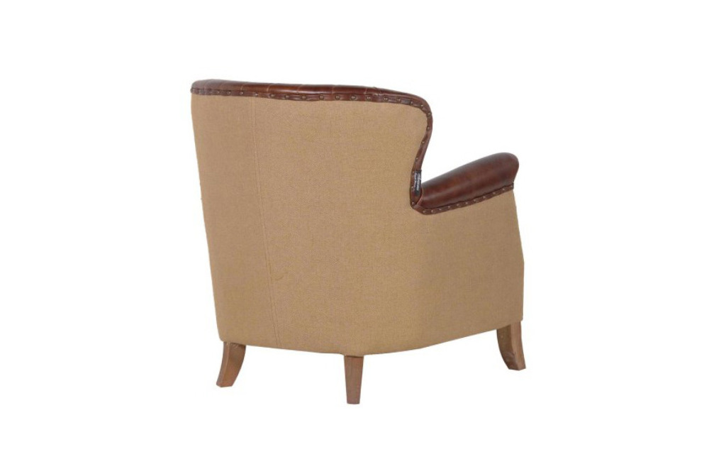 Inspired Floors furniture - Brown Leather Armchair with Buttons