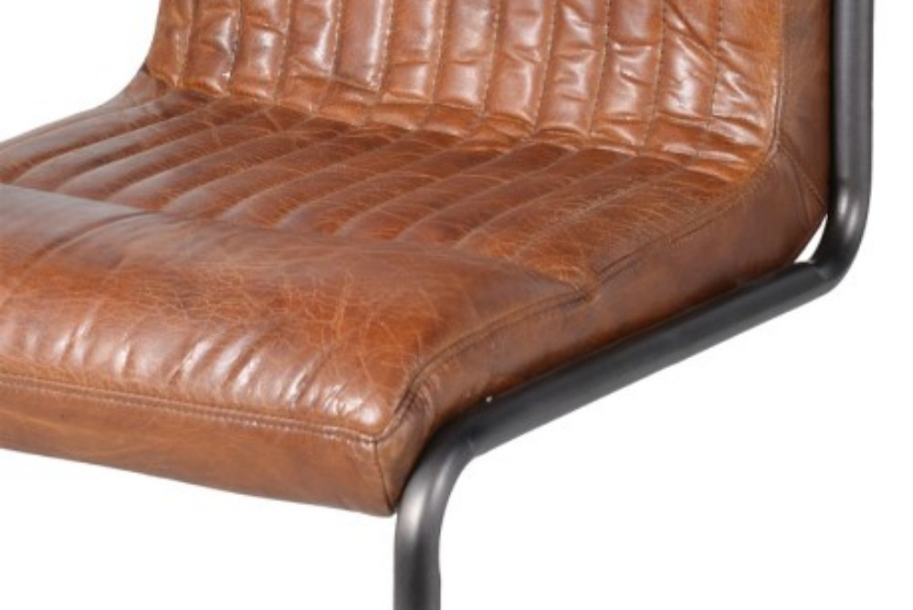 Inspired Floors furniture - Vintage Brown Leather and Metal Frame Chair