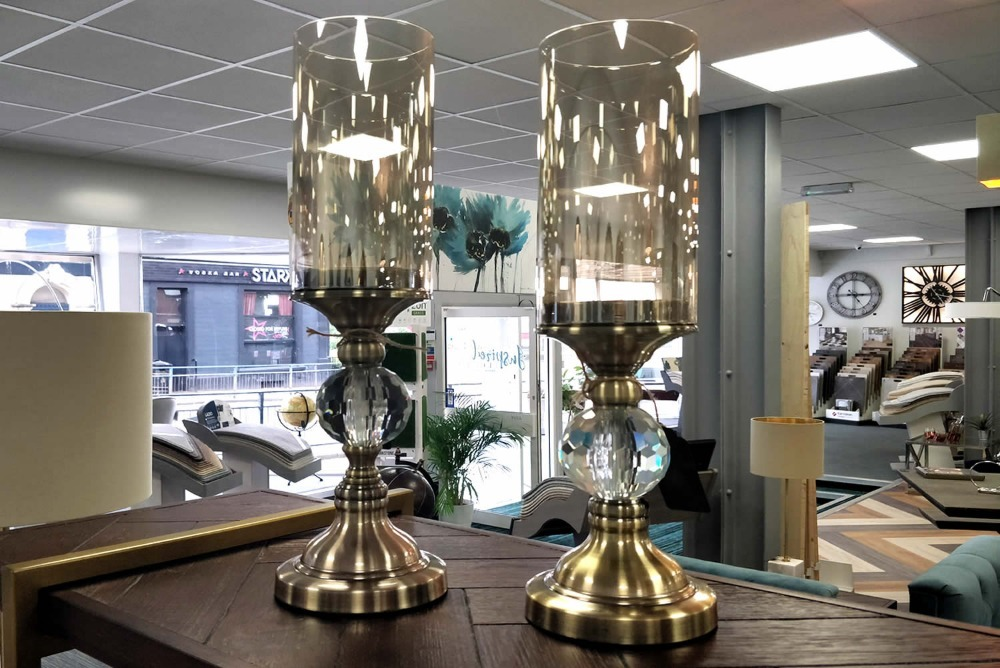 Pair Brass & Cut Glass Candle Holders