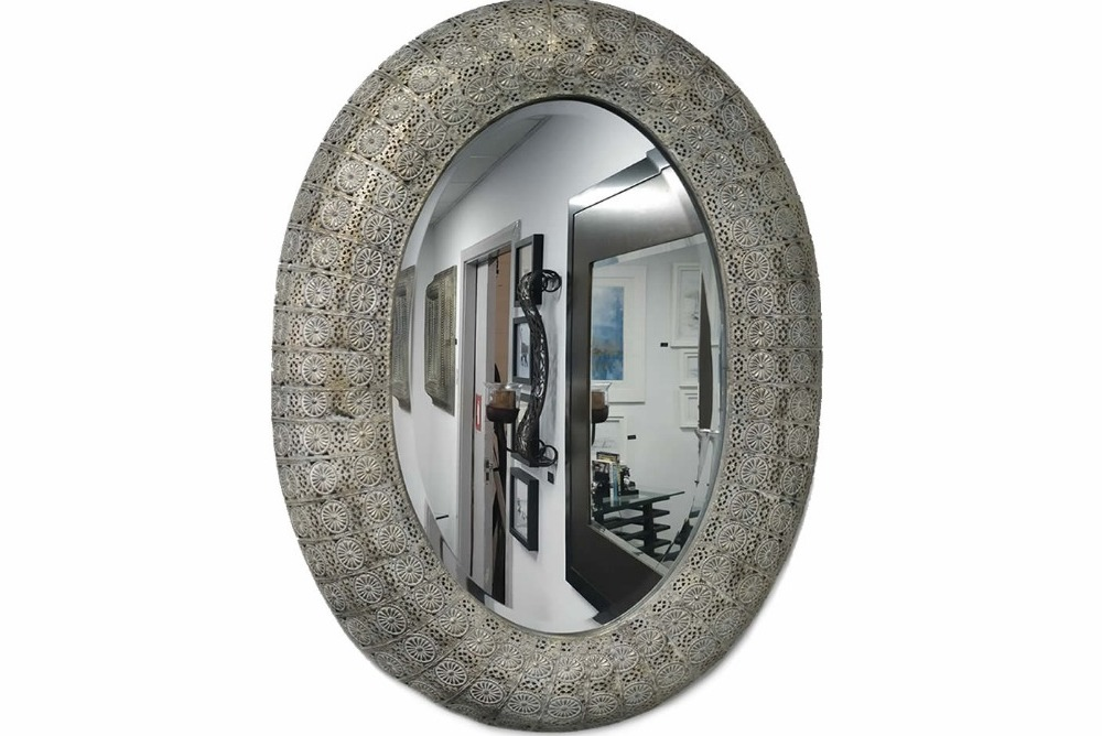 Tribal Design Oval Mirror