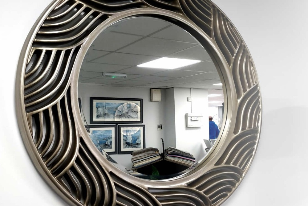 Circular antique silver leaf finish Mirror
